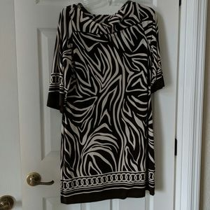 Brown and cream tiger striped dress.